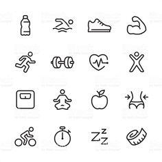 16 line black and white icons / Set Fitness icon Doodle icon Icon set