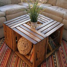 crate coffee table 10 Useful DIY Home Projects Wine Crate Coffee Table, Wood Crate Table, Crate Stools, Pallet Tables, Wood Crate Shelves, Crate Ottoman, Coffee Table Made From Crates, Apple Crate Shelves, Crate Bookshelf