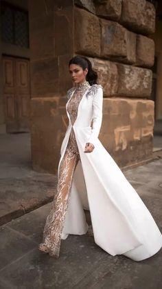 Elegant Dresses, Pretty Dresses, Beautiful Dresses, Elegant Clothing, Wedding Pantsuit, Wedding Suits, Modest Wedding, Gown Wedding, Wedding Coat