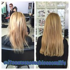 Short blonde hair to long blonde extensions for the love of blonde highlight with 20 itip short 2 long hair extensions pmusecretfo Choice Image
