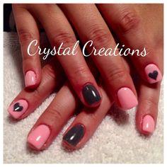 Pink & Coal color gel nails