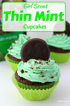 These Thin Mint Cupcakes are rich chocolate cupcakes smothered with ...
