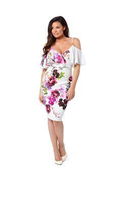 e8ce427064d2eb Jessica Wright Avril Floral Multicolour Cold Shoulder Bodycon Dress