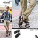 ◆Men's sandals men heel older brother system sandals shoes shoes older brother system fashion older brother %OFF men fashion summer おしゃれたけぞーぺたんこ of Roshell( Rochelle )PU leather studs ankle holder sandals ◆ older brother line