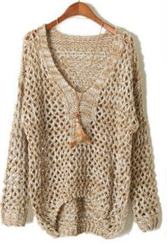 Khaki V Neck Long Sleeve Sheer Hollow Sweater pictures