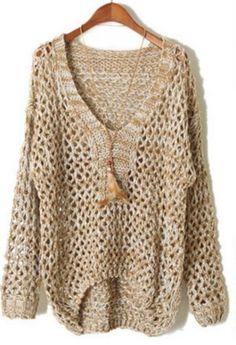 Khaki V Neck Long Sleeve Sheer Hollow Sweater - Sheinside.com Mobile Site