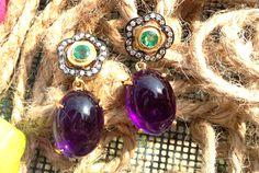 gold Diamond, amethyst and emerald earrings Prasiolite, Emerald Earrings, Turquoise Necklace, Amethyst, Jewellery, Diamond, Gold, Jewels, Schmuck