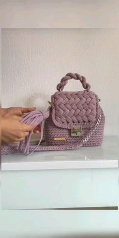 Shoulder bag women every day dusty rose Crochet Handbags, Crochet Clutch, Crochet Purses, Diy Crochet Bag, Mochila Crochet, Bag Women, Yarn Bag, Knitted Bags, Knit Bag