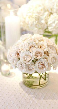 White Inspiration. Rose centerpiece, floral arrangement  Wedding / Event Wedding design by Kehoe Designs: kehoedesigns.com/ Chicago, IL