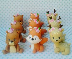 Forest Party, Polymer Clay Miniatures, Woodland Creatures, Clay Crafts, Cookie Decorating, Cake Toppers, Biscuits, Hello Kitty, Baby Shower