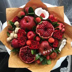 Food Bouquet, Edible Bouquets, Diy Flowers, Flower Arrangements, Strawberry, Candles, Fruit, Gifts, Ideas