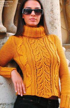 свитер с большим воротником спицами. Свитер с ажурным узором листья