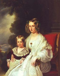 1838 Maria Louisa of Orleans, Queen of Belgium and her son Leopold by Franz Xaver Winterhalter (Royal collection) | Grand Ladies | gogm