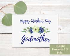 Mother's Day Card for Godmother Printable Card, Printable Mother's Day Card for God Mother, Digital Download New Baby Cards, Mothers Day Cards, Happy Mothers Day, Birthday Wishes, Birthday Cards, Happy Birthday, Congratulations Baby Boy, Printable Cards, Printables