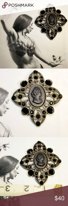 "Vintage Black cameo rhinestone Robert Rose brooch Vintage Black Glass Cameo and rhinestone encrusted antique brass brooch and pendant signed Robert Rose. Goes great with other black rhinestone jewelry listed. Measures 2.75"" x 2.25"" clasp and pin are very sturdy and in good working order. Hook bale on back allows you to put on a necklace. All rhinestones are intact and free from discoloration. Excellent vintage condition reasonable offers welcome and accepted. Add to a bundle and I'll offer…"