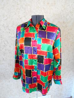 90s Color Block Bright Polyester Blouse Button Down Shirt Yves St Clair Long Sleeves Padded Shoulders 1990s Retro Vintage Hip Hop Womens XL