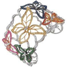 Bracelets: butterfly bracelet by JYE Ruby Bracelet, Sapphire Bracelet, Diamond Bracelets, Bangles, Sapphire Earrings, Bracelet Set, Butterfly Bracelet, Butterfly Jewelry, Butterfly Design