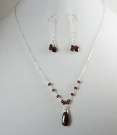 Garnet Earring and Necklace Set, Sterling Silver and Garnet Jewelry,  Wire Wrapped Jewelry by LaurieRobertsJewelry on Etsy