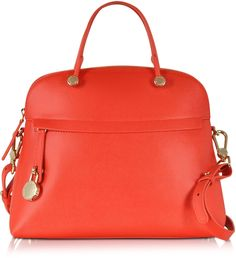 Furla Piper Leather Medium Dome Handbag. colors: Arancio, also in Rose.  Nice Fall color