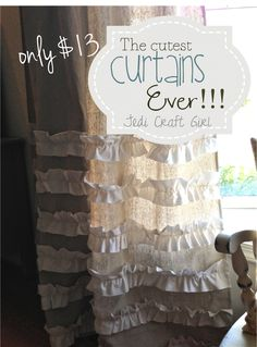 The Cutest Curtains Ever! {tutorial} DIY: How to Make Ruffled Drop Cloth Curtains – this is a budget friendly project that uses a drop cloth and a thrift store sheet. Excellent tutorial with lots of pictures – via Jedi Craft Girl Ruffle Curtains, Cute Curtains, Drop Cloth Curtains, Camper Curtains, Short Curtains, Double Curtains, Outdoor Curtains, Burlap Curtains, Green Curtains