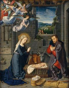 DAVID Gerard - Flemish (Oudewater 1460-1523 Bruges) ~ Detail from The Nativity with Donors and Saints Jerome and Leonard