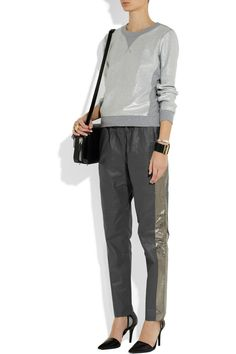 Les Chiffoniers|Metallic-trimmed drawstring leather pants