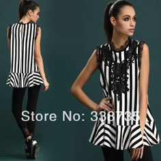 Spring New Promotion 2014 Zebra Women Blouse Embroidered Lace Sleeveless Ladies Blouses High Street Summer Brand Style Tops for $14.90