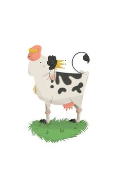 Ester Garay Illustration - ester, garay, ester garay, commercial, educational, fiction, mass market, picture books, cute, sweet, YA, young reader, cute, sweet, animal, cow, bell, cow bell, grass, crown, colour
