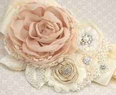 Bridal Sash - Sash in Nude, Champagne, Ivory and Cream with Handmade Chiffon Flowers, Pearls and Jewels. $210.00, via Etsy.
