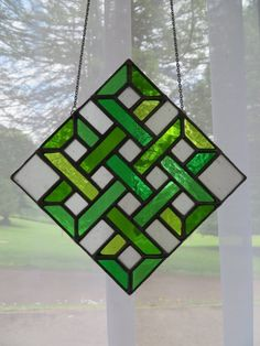 53ef3d6d8d7020 Eternal Knot Shades of Green Stained Glass by pewtermoonsilver Glass Wall  Art