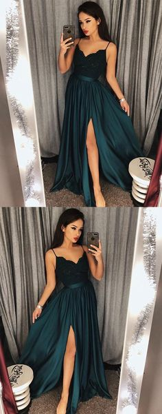 Dark Green Prom Dress,V-Neck Lace Prom Dress,Bodice Prom Dress,Green Slit Side Evening Dresses