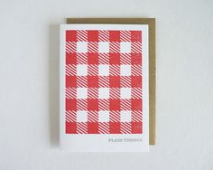 Plaid Tidings - Gocco Printed Card. $5.00, via Etsy.