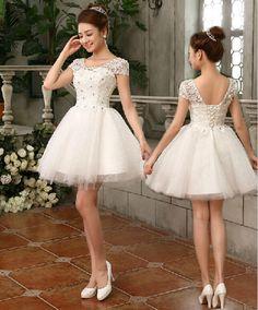 novos moda quente 2014 princesa menina rendas até vestido de noiva curto sexy formal vestidos de noiva 60.00