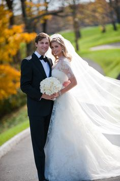 Ivanka Trump married Jared Kushner in front of 500 guests, including Natalie Portman and Russell Crowe, at the Trump National Golf Club in New Jersey wearing a custom made Vera Wang wedding dress and $130,000 earrings from her own collection. Even her bridesmaids wore designer gowns -- designed by Carolina Herrera (October 25, 2009).