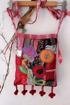 Red Hippie Bag Handmade rag bag Red Boho Bag Ethnic bag Handmade Handbags, Handmade Bags, Ethnic Bag, Diy Handbag, Red Shoulder Bags, Hippie Bags, Beautiful Handbags, Unique Bags, Denim Bag