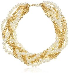 "Gold-Tone Chain and Faux Pearl Braided Collar Necklace, 17""   3"" Extender ** Visit the image link more details."