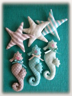 "seahorse starfish rozgwiazda konik morski ""created by BB' Sewing Toys, Baby Sewing, Sewing Crafts, Sewing Projects, Felt Crafts, Fabric Crafts, Kids Crafts, Diy And Crafts, Fabric Fish"