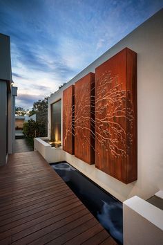 Lump supply Corten Steel Australia wide that is used as an architectural material for cladding. We also use Corten for Sculptures, Wall Art, Light features. Metal Garden Screens, Garden Fencing, Garden Art, Landscape Architecture, Landscape Design, Architecture Panel, Design Exterior, Modern Fence, Contemporary Garden