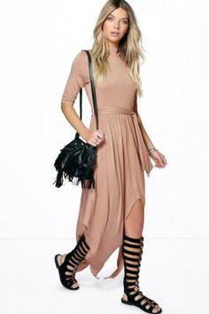 Women Bodycon Dresses - Boohoo High Neck Drape Maxi Dress