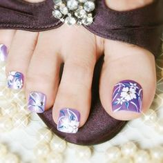 Sandal Ready Pedicures from INSPIRE | Purple toenails | Flower nails | Summer Nails | Cute Pedicures | Nailpro Magazine