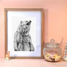 A beautiful giclee art print of Kirsten Mcnee's Grizzly Bear pencil illustration.A bold and eye catching design, this intricately drawn bear print will add character to your room. This is a popular design with men and would make a great present for a husband or boyfriend. We also have this design as a screen printed t-shirt. This is a standard A4 size, so is easy to frame.Natural white, 315gsm, 100% cotton rag, acid free fine art paper by Hahnemuhle. Packaged in a protective cellophane ...