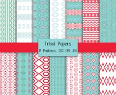 AZTEC TRIBAL DIGITAL Paper Pack Commercial Use Ok Aqua & Red Digital Paper Pack Aztec Digital Papers Scrapbooking Supplies Instant Download by ClipArtBrat on Etsy