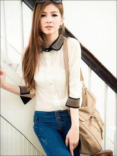 Elegant Turndown Collar Rivet Embellished Three Quarter Sleeve Chiffon Women's Shirt