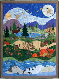 """Piecemakers 2010 Calendar Quilt — """"God's Glory Covers the Earth"""" – Handwerk und Basteln Halloween Quilts, Quilting Projects, Quilting Designs, Landscape Art Quilts, Landscapes, Donia, Barn Quilts, Mini Quilts, Applique Quilts"""