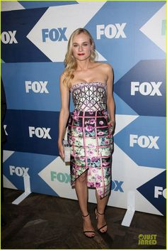 Diane Kruger in Mary Katrantzou dress, Edie Parker clutch, Stuart Weitzman shoes - At the Fox Summer TCA All Star Party in Los Angeles. (August 2013)
