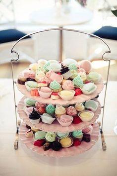 Macaroons, Mini Cupcakes, Petit Fours, Truffles...mini dessert tier perfect for High Tea!