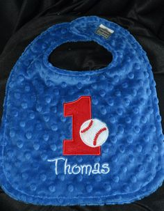 Baseball Birthday Bib -- First Birthday 1st Birthday   Can be plain or embroidered with a name. Your Choice- Same Price on Etsy, $19.95