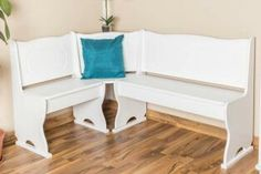 Corner Seat Solid Pine Wood Painted White Junco Dimensions 85 X 147 X 107  Cm, Tische, Stühle, Sitzgruppen