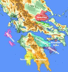Greeks' home territories in Iliad