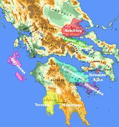 Greeks' home territories in Iliad